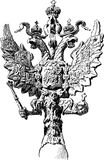 Double-headed eagle. Vector sketch of a vintage architectural detail Royalty Free Stock Photo