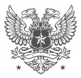 Double Headed Heraldic Eagle Crest On White Royalty Free Stock Images