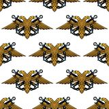 Double headed Imperial eagle and crossed anchors Royalty Free Stock Photos
