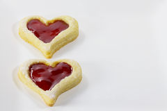 Double heart. Two raspberry hearts for Christmas Stock Photos