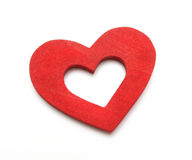 Double heart. Double wooden heart paint red Stock Photography