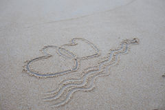 Double heart shape on the beach Stock Photography
