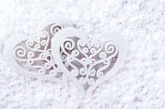 Double heart shape in the snow Stock Images