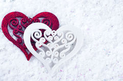 Double heart shape in the snow Royalty Free Stock Images