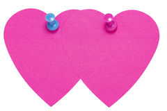 Double Heart Sticky Label, with pink an blue pin, isolated. On white background Stock Photos