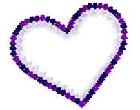 Double heart with violet flowers. Heart with outline of violet plant flowers and white background royalty free stock photos