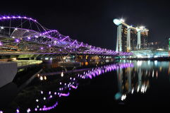 Double helix bridge and Marina Integrated Resorts Royalty Free Stock Photography