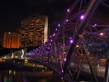Double Helix Bridge over the marina bay waterfront Stock Photos