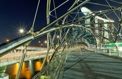 The Double-Helix Bridge, Singapore. A picture of the Helix Bridge at the Marina Promenade in Singapore Royalty Free Stock Images