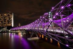 Double Helix Bridge, Singapore. Singapore's Double Helix Bridge at night Royalty Free Stock Image