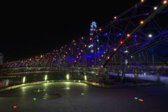 Double Helix bridge, Singapore. At night Royalty Free Stock Photo