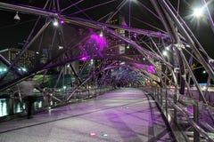 Double Helix Bridge, Singapore. The Double Helix Bridge in Singapore at night Stock Images
