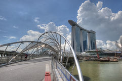 Double Helix Bridge to Marina Bay Sands Stock Photos