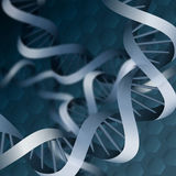 Double helix dna background. Double helix DNA acid against dark blue abstract background Stock Photos