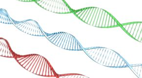 Double helix dna on white background 3d render stock image