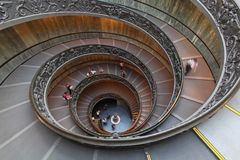 Double helix staircase. ROME, ITALY - OCTOBER 26: The Bramante Staircase in Vatican on OCTOBER 26, 2009. Double Helix Staircase in Vatican Royalty Free Stock Photo