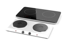 Double hot plate and induction cooktop. On white background royalty free illustration
