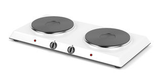 Double hot plate. On white background Stock Photo
