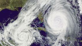 Double Hurricane over Florida., satellite view.
