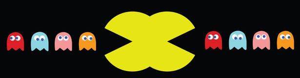 Double illustration de Pac-homme, rétros caractères de jeu Photographie stock libre de droits