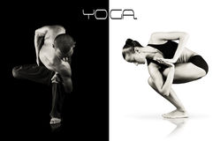 Double images of yoga instuctors. Concept yoga ima Royalty Free Stock Photo
