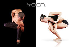 Double images yoga instuctors - man and woman Stock Photos
