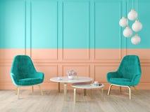 Double intérieur classique moderne de couleur avec les fauteuils, la lampe, la table, les panneaux de mur et le plancher en bois illustration de vecteur