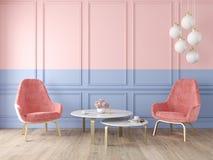 Double intérieur classique moderne de couleur avec les fauteuils, la lampe, la table, les panneaux de mur et le plancher en bois illustration libre de droits