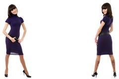double isolerad ståendewhitekvinna royaltyfri fotografi