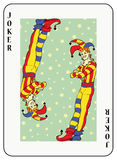 Double Joker. Symmetric joker playing card on stars background Royalty Free Stock Image