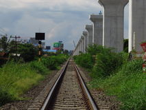 Double junction construction at Jira-Khon Kaen. Junction It is the first route of a dual train project. According to the country`s transportation development Stock Photography