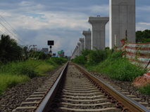 Double junction construction at Jira-Khon Kaen. Junction It is the first route of a dual train project. According to the country`s transportation development Royalty Free Stock Photography