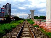 Double junction construction at Jira-Khon Kaen Royalty Free Stock Photo