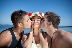 Double Kiss Royalty Free Stock Photography