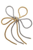 Double Knot on a gold and silver rope. Isolated, flower Stock Images