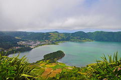 Double lake on the island of San Miguel. Double lake Lagoa das Sete Cidades in the clouds on the island of San Miguel, Azores stock photography