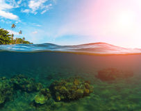 Double landscape with sea and sky. Split photo with tropical island and underwater coral reef. Stock Image