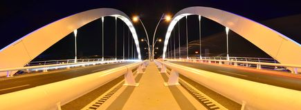 Double lane suspension bridge - night scene Stock Photography