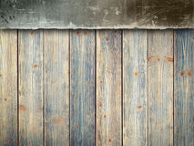 Double-layer background - concrete wall and wooden planks Royalty Free Stock Photos