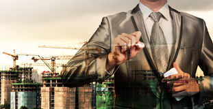 Double layer of businessman and construction site, business conc Royalty Free Stock Photography