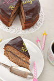 Double layered chocolate cake Stock Images