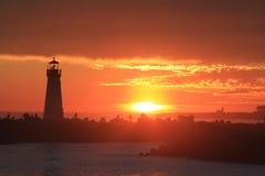 Double Lighthouse Sunset Stock Photo
