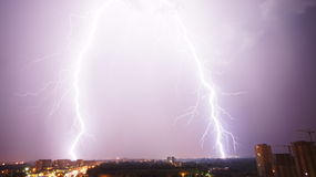 Double lighting in Ufa, Russia Royalty Free Stock Photography