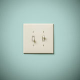 Double Lightswitch sur le vert bleu Aqua Teal Wall On et  Image stock