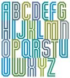 Double line geometric font. Stock Photo