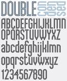 Double Line retro style geometric font. Stock Image