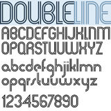 Double Line retro style geometric font, light version. Stock Photos