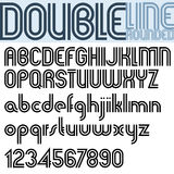 Double Line retro style geometric font. Royalty Free Stock Images