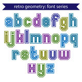 Double lines geometric font with outline, colorful uppercase let Stock Photo