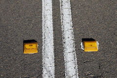 Double Lines, Road. Double lines in the middle of the road Royalty Free Stock Photo